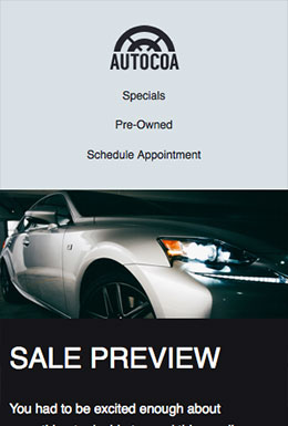 Auto Dealership template - Mobile