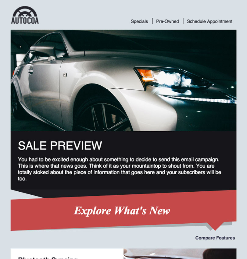 Auto Dealership template - Desktop