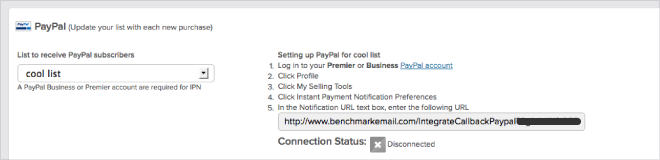 Benchmark PayPal Integration
